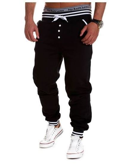 Picture of Casual Male Elastic Drawsting Button Design Loose Sports Pants