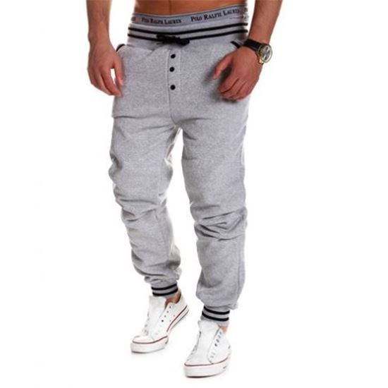 Picture of Casual Male Elastic Drawsting Button Design Loose Sports Pants - Gray