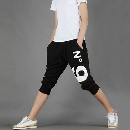 Picture of Street Style Elastic Waist Printed Drawstring Capri Pants for Men