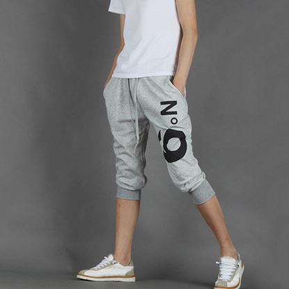 Picture of Street Style Elastic Waist Printed Drawstring Capri Pants for Men - Gray
