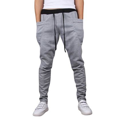 Picture of Casual Drawsting Pocket Design Cotton Blend Harem Pants for Men