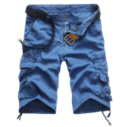 Picture of Casual Mid Waist Pure Color Loose-fitting Multiple Pocket Cotton Men Shorts - Blue