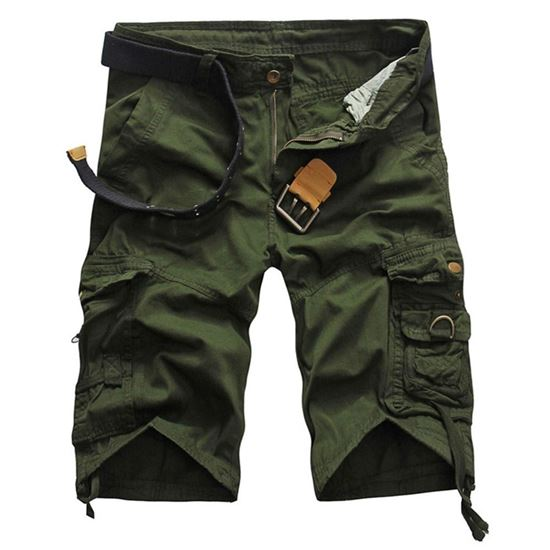 Picture of Casual Mid Waist Pure Color Loose-fitting Multiple Pocket Cotton Men Shorts - Green