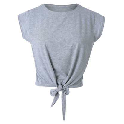 Picture of Round Collar Short Sleeve Plain Crop Top T-shirt -Gray
