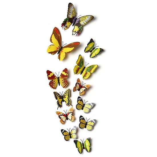 Picture of DIY 12pcs 3D Butterfly Wall Decor Stickers for Living Room Bedroom Office Decorations