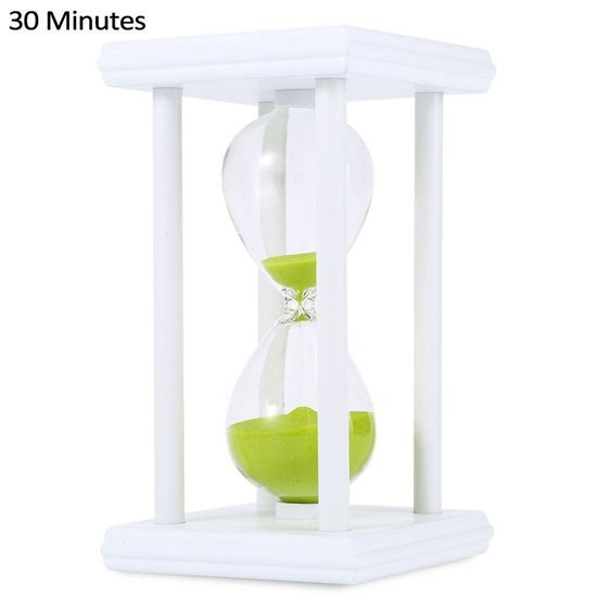 Picture of Hourglass Sand Timer 30 Minutes Wood Sand Timer for Kitchen Office School Decorative Use - Green