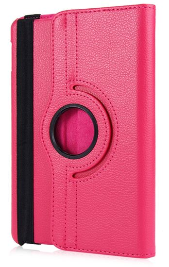 Picture of iPad Mini 4 Case Cover 360 Degree Rotating Lychee Texture Smart Leather with Retina Display Stand - Pink