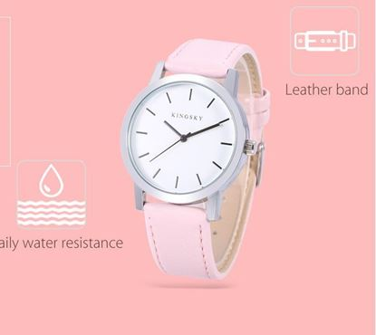 Picture of KINGSKY 8209 Female Quartz Watch Leather Band Daily Water Resistance Concise Style Wristwatch