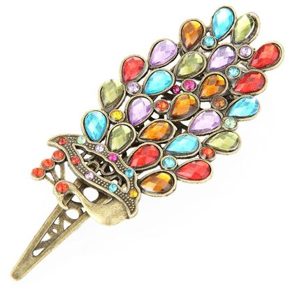 Picture of Ladies Vintage Colorful Rhinestone Peacock Hair clip