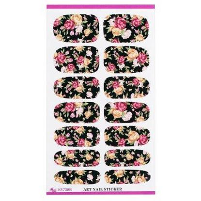 Picture of Pink Red Rose Flowers Design Nail Sticker Manicure Decor Tools - Dark Flowers