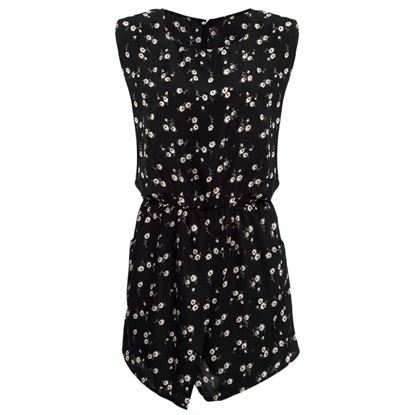 Picture of Refresh Round Collar Sleeveless Hollow Out Elastic Waist Pocket Floral Print Romper for Women - Black