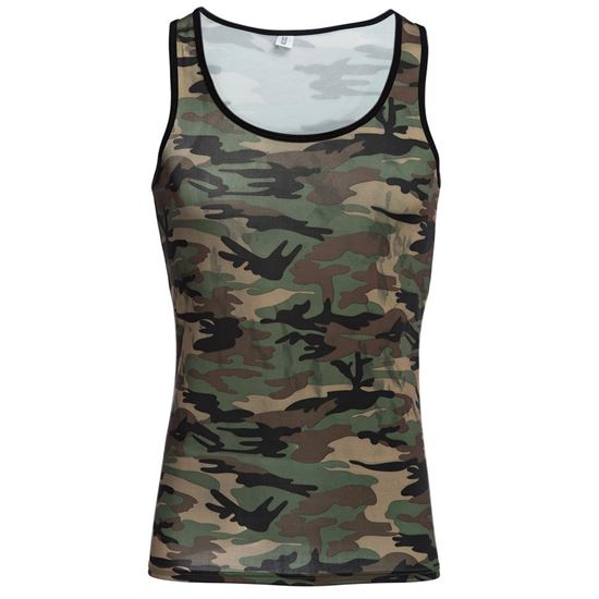Picture of Sexy Round Neck Camouflage Cotton Blend Tank Top for Men