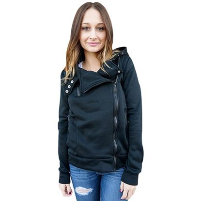 Picture of Stylish Hooded Long Sleeve Zippered Slimming Women's Hoodie