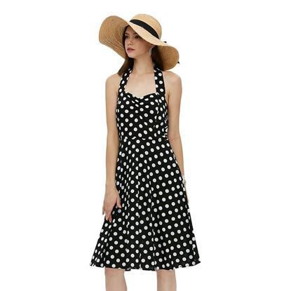 Picture of Stylish Sleeveless Halter Neck Dot Print Women Dress
