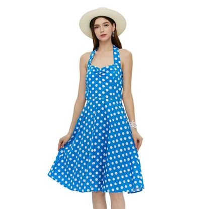 Picture of Stylish Sleeveless Halter Neck Dot Print Women Dress - Blue