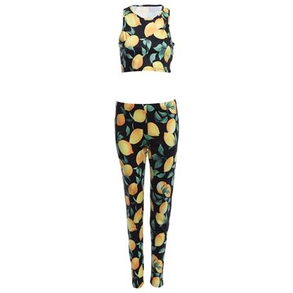 Picture of Trendy 2pcs Round Neck Sleeveless Print Crop Top Sheathy pants for Ladies