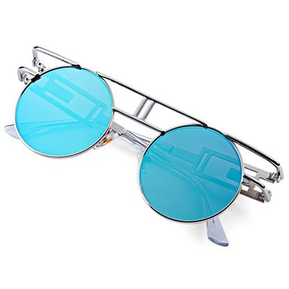 Picture of Vintage Round Frame Unisex Gothic Punk Color Coated Sunglasses